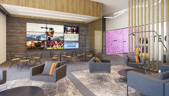 YotelPAD Mammoth lounge TV area rendering