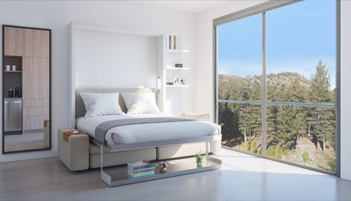 YotelPAD Mammoth - living area suite with bed down rendering